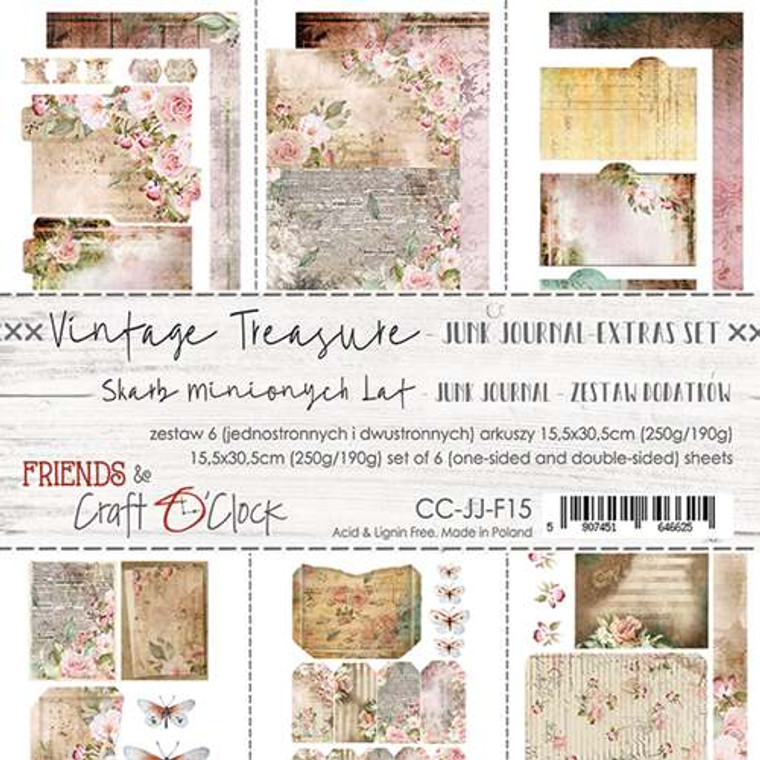 Craft O'Clock - Junk Journal Extras Set - Vintage Treasure - 6 Pcs. (CC-JJ-F15)  Junk Journal Set, Vintage Treasure Collection. Each Sheet Size 15.5 x 30.5cm. Pack contains 6 pieces, 3 Single sided, 250g, and 3 double sided, 190g.  Acid and Lignin free.