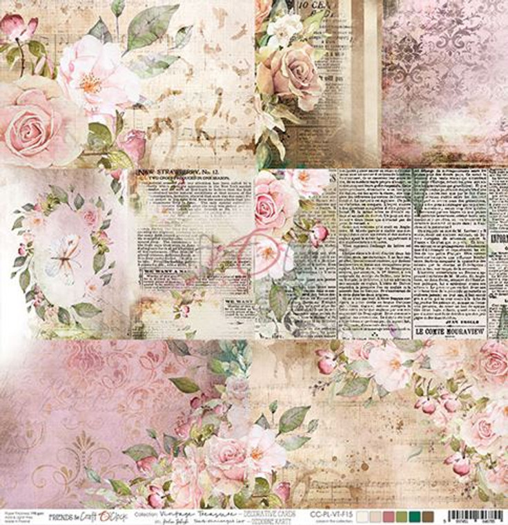 """Craft O'Clock - Double-Sided Paper 12""""x 12"""" Vintage Treasure collection - Decorative Cards - 190 gsm (1 sheet) (CC-PL-VT-F15)  Vintage Treasure Collection - Single sheet of high-quality paper for scrapbooking and other craft projects. Acid-free and lignin-free.  Double sided paper.  Size: 12x12 inches (30,5x30,5cm)  Weight: 190gsm."""