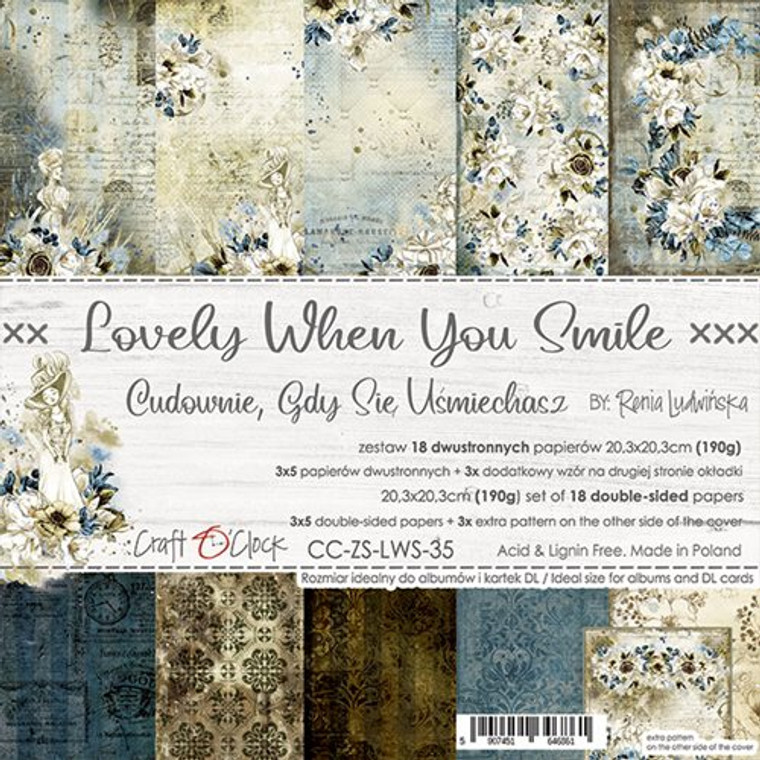 """Craft O'Clock - Paper Collection Set 8"""" x 8"""" Lovely When You Smile- 190 gsm, bonus design on back of the cover (CC-ZS-LWS-35)  Craft O'clock - Lovely When You Smile Paper Collection.  A set of 18 double-sided pages of a high quality scrapbooking paper.  Every page is 8x8 inches (20.3x20.3cm).  The set contains 3x5 double sided papers plus 3x extra pattern on the other side of the cover.  The paper weighs 190gsm.  Acid and lignin free."""