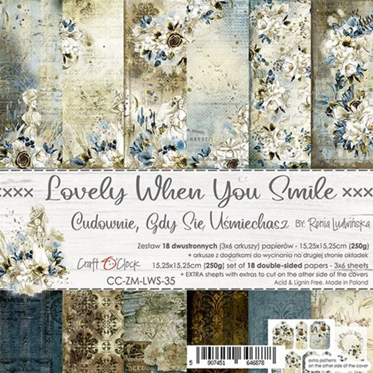 """Craft O'Clock - Paper Collection Set 6""""x 6"""" Lovely When You Smile - 250 gsm, bonus design on back of the cover (CC-ZM-LWS-35)  A set of 18 double-sided pages.  Lovely When You Smile Collection (6 patterns) of high quality scrapbooking paper.  Each page is 6x6 inches or 15.25 x 15.25cm. The paper weight is 250gsm.  This product is acid and lignin free."""