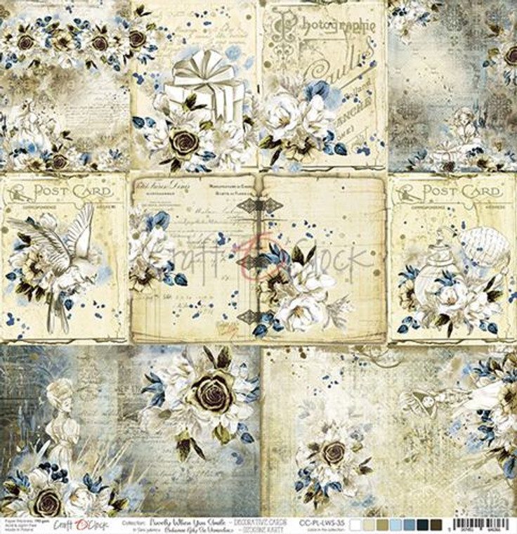 """Craft O'Clock - Double-Sided Paper 12""""x 12"""" - Lovely When You Smile - Decorative Cards - 190 gsm (1 sheet) (CC-PL-LWS-35)  Single sheet of high-quality paper for scrapbooking and other craft projects. Acid-free and lignin-free.  Double sided paper.  Size: 12x12 inches (30,5x30,5cm)  Weight: 190gsm."""
