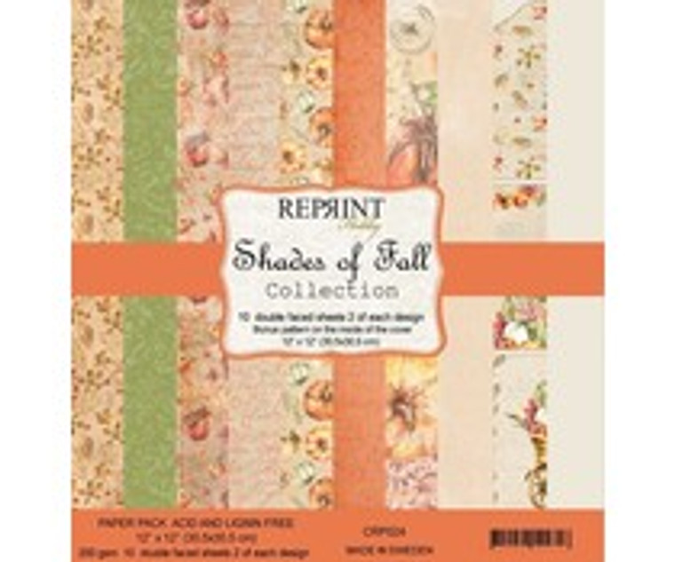 Reprint - Shades of Fall Collection - 12x12 Inch Paper Pack (CRP024)  Swedish collection design paper for projects like scrapbooking, making cards or home decor. Pack contains 10 double sided sheets.  Bonus Pattern on the inside of cover.  Acid & lignin free, 200gsm.