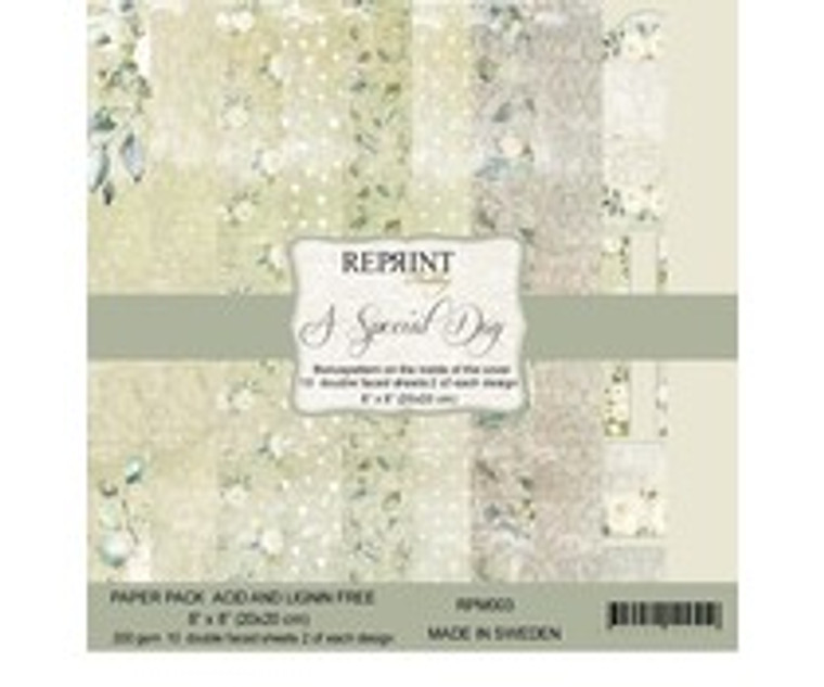 Reprint - A Special Day - 8x8 Inch Paper Pack (RPM003)  Reprint designer papers for projects like scrapbooking and cardmaking. Acid and Lignin free.  These 8x8'' paper pads contain two sheets of each design.  10 double sided sheets, 200gsm.