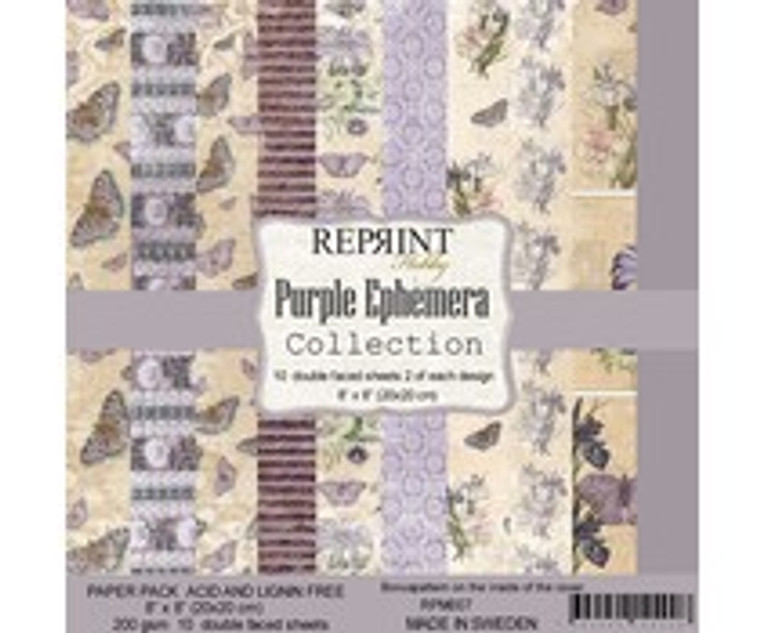 Reprint - Purple Ephemera - 8x8 Inch Paper Pack (RPM007)  Reprint designer papers for projects like scrapbooking and cardmaking. Acid and Lignin free.  These 8x8'' paper pads contain two sheets of each design.  10 double sided sheets, 200gsm.