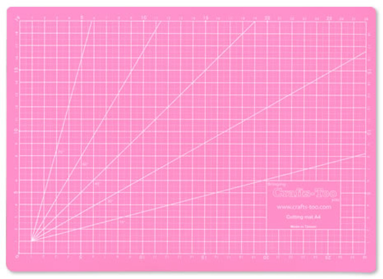 Crafts-Too - A4 Pink Cutting Mat (220x330x3mm) - CTCMA4  Crafts-Too A4 Pink Cutting Mat.  5 layer PVC self healing cutting mat.  This Mat has a special non-slip surface for cutting paper, card and other materials without damaging work surfaces.  This Mat has helpful marked guides to help you cut your cards and project pieces accurately.