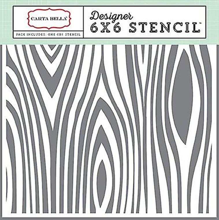 """Carta Bella Wood Grain #2 6x6 Inch Stencil (CBGO55033)  This Carta Bella Wood Grain #2 6x6"""" Stencil is one of the Echo Park stencils. This stencil will be an essential ingredient in your paper crafting and mixed media projects from this moment forward. With Echo Park stencils you can paint, spray, mist, spritz, airbrush, sponge, doodle, mask, and more.  Echo Park stencils will work on a variety of surfaces including card stock, canvas, cork, chipboard, acetate, and fabric."""