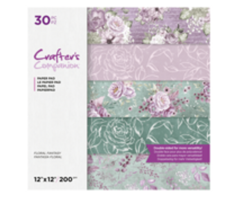 """Crafters Companion 12""""x12"""" Paper Pad - Floral Fantasy - 30pc (CC-PAD12-FFAN-30)  Crafters Companion 12""""x12"""" Paper Pad - Floral Fantasy Collection 30pc.  Celebrate 15 years of Crafter's Companion and the Ultimate Pro with a selection of patterned paper to adorn your projects with!  This beautiful paper pack contains 30 double-sided sheets of patterned paper in gorgeous lilac and green shades with decadent designs in a 12"""" x 12"""" size. This makes it ideal for die-cutting to produce delicately gorgeous shapes to add accents to your papercrafts.  These patterned paper packs have been designed to co-ordinate with the matching organza ribbons and pearl paper packs, so to be sure to collect them all."""
