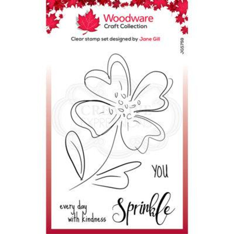 """Woodware Clear Singles Poppy Sketch 4"""" x 6"""" Stamp by Jane Gill (JGS759)  • Great stamp for cards, mixed media and scrapbooking • Can be used on a great variety of surfaces depending on the ink type, use with ink pads or paints • High quality polymer stamp designed and made in UK"""