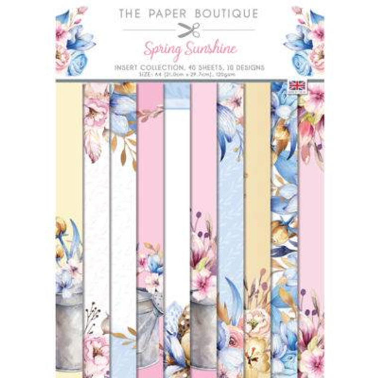 The Paper Boutique Spring Sunshine Insert Collection A4 - (PB1489)  • A4 pad • 40 sheets in 10 designs, 120 gsm • Made in UK
