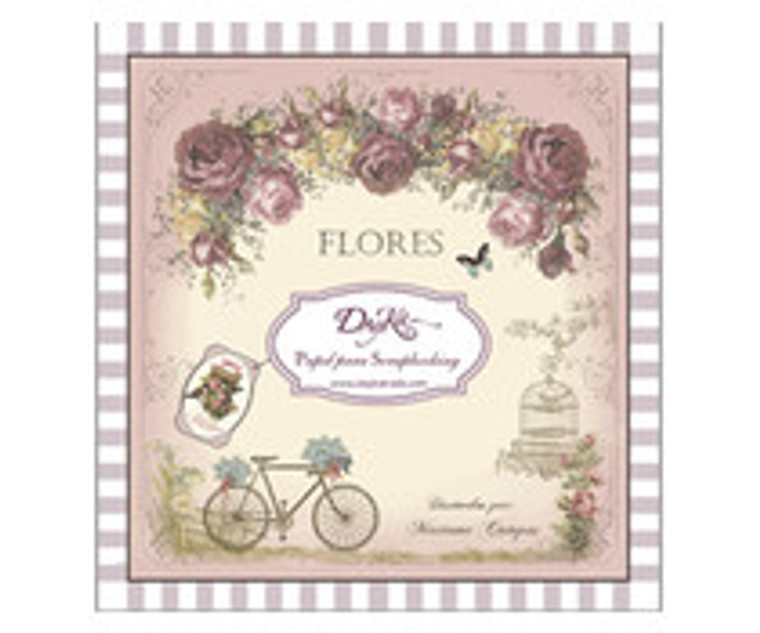 DayKa Trade Flores 8x8 Inch Paper Pad (SCP-1006) Block of papers with 24 double sided papers, 24 designs. Acid and lignin free. Designed and produced in Spain. Sentiments in Spanish language. Size 20x20 cm