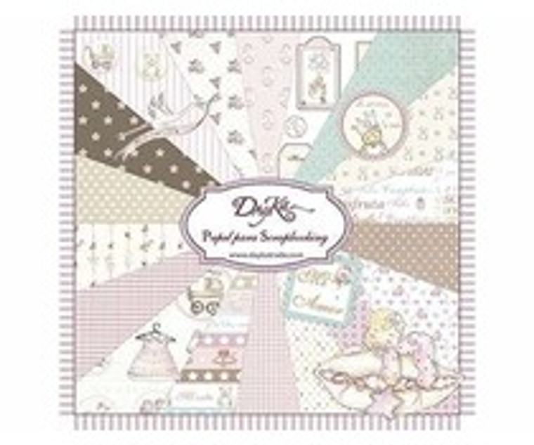 DayKa Trade Niña 8x8 Inch Paper Pad (SCP-1001) Block of papers with 24 double sided papers, 24 designs. Acid and lignin free. Designed and produced in Spain. Sentiments in Spanish language. Size 20x20 cm
