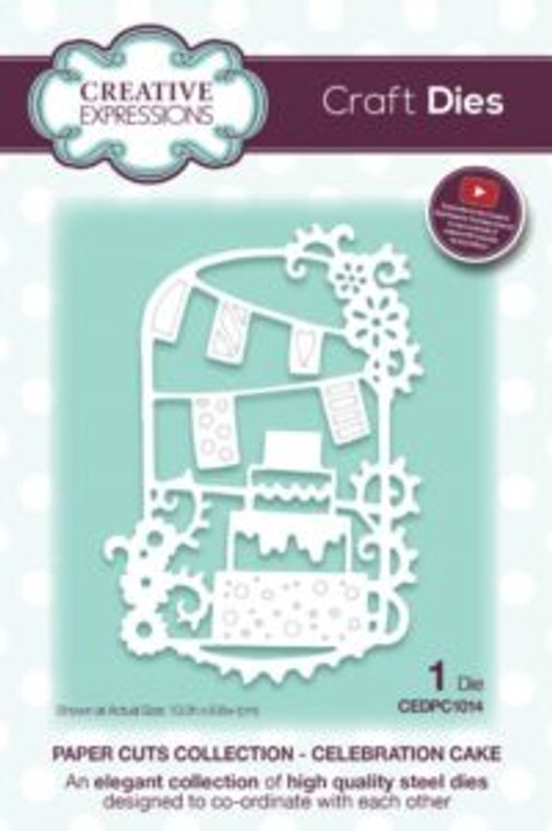 Creative Expressions Paper Cuts - Celebration Cake Craft Die (CEDPC1014)      High quality steel die      Contains 1 die     Size 10 x 6.8 cm (3.9 x 2.6 inches)