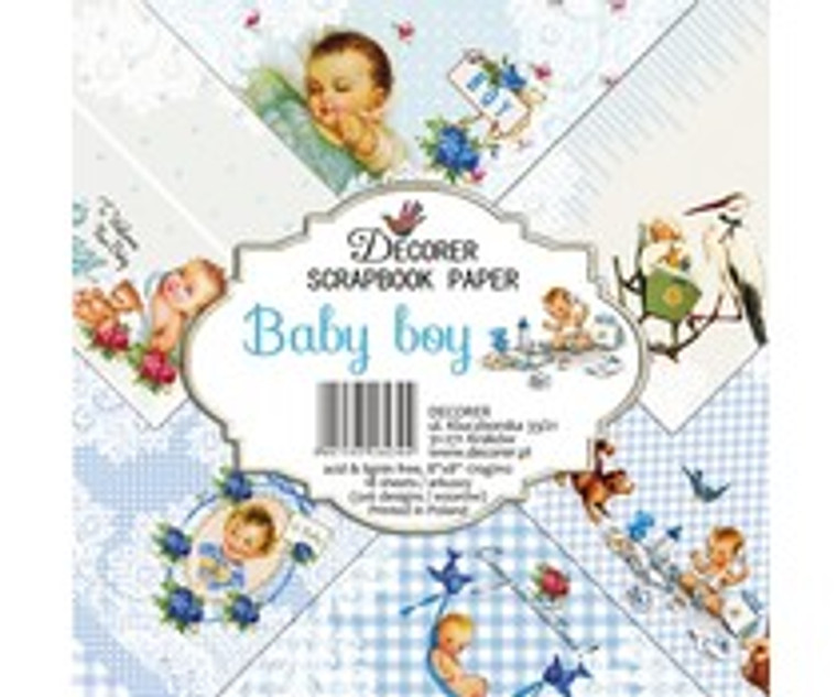 Decorer Scrapbook Paper - Baby Boy - 8x8 (DECOR-B32-430)  Paper Set for scrapbooking, for making albums, invitations, greeting cards, calendars ....One-sided paper,weight 170 gr/m2, very good quality with durable and vibrant colors. Paper Pack includes 18 sheets of 8x8 inch papers, 6 designs - 3 sheets of each. Acid & lignin free. Printed in Poland.