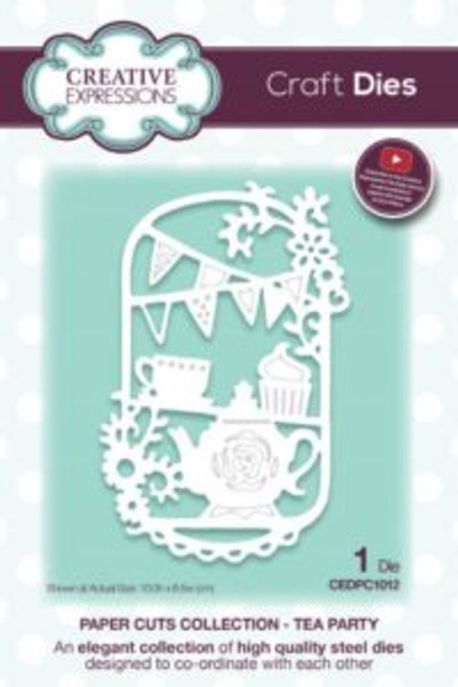 Creative Expressions Paper Cuts - Tea Party Craft Die (CEDPC1012)      High quality steel die      Contains 1 die     Size 10 x 6.5 cm (3.9 x 2.5 inches)