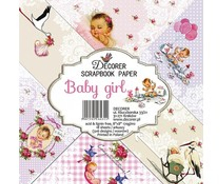 Decorer Scrapbook Paper - Baby Girl - 8x8 (DECOR-B33-431)  Paper Set for scrapbooking, for making albums, invitations, greeting cards, calendars ....One-sided paper,weight 170 gr/m2, very good quality with durable and vibrant colors. Paper Pack includes 18 sheets of 8x8 inch papers, 6 designs - 3 sheets of each. Acid & lignin free. Printed in Poland.