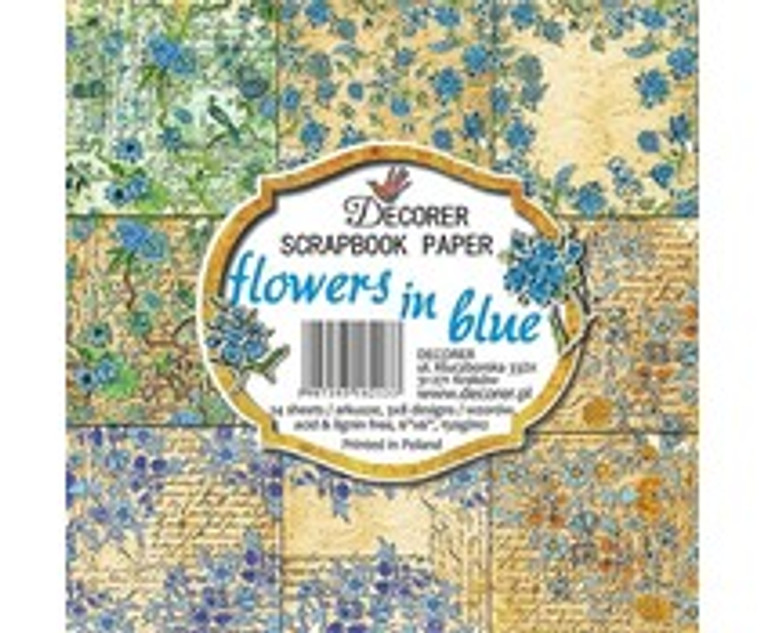 Decorer Scrapbook Paper - Flowers in Blue - 6x6 Inch Paper Pack (C10-213)  6x6 Inch paper pack. 150gsm, acid and lignin free. 24 single sided sheets, 3x8 designs.