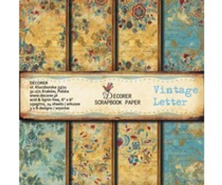 Decorer Scrapbook Paper - Vintage Letter - 6x6 Inch Paper Pack (C3-205)  6x6 Inch paper pack. 150gsm, acid and lignin free. 24 single sided sheets, 3x8 designs.
