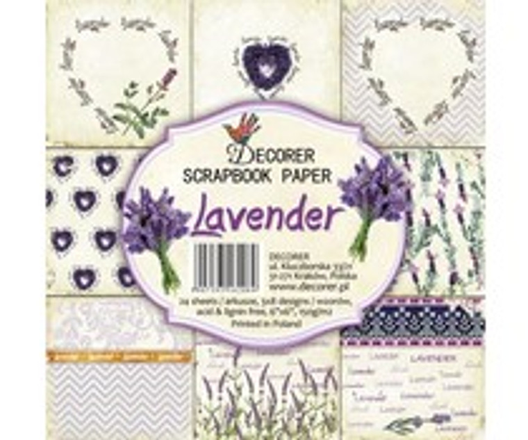 Decorer Scrapbook Paper - Lavender - 6x6 Inch Paper Pack (C5-208)  6x6 Inch paper pack. 150gsm, acid and lignin free. 24 single sided sheets, 3x8 designs.