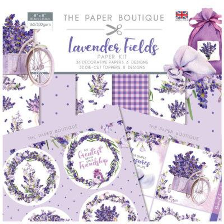 """The Paper Boutique - Lavender Fields -Paper Kit 8"""" x 8""""- (PB1403)    8 x 8 Paper Pad 36 sheets in 6 designs 160 gsm • 8 x 8 Die Cut Toppers pad, 32 toppers, 4 of each design 300gsm • Made in UK"""