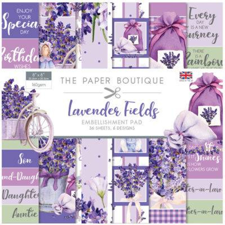 """The Paper Boutique - Lavender Fields Embellishment Pad - 8""""x 8"""" (PB1405)  • 36 sheets with 6 each of 6 designs 160 gsm • 8 x 8 inch pad • Made in UK"""