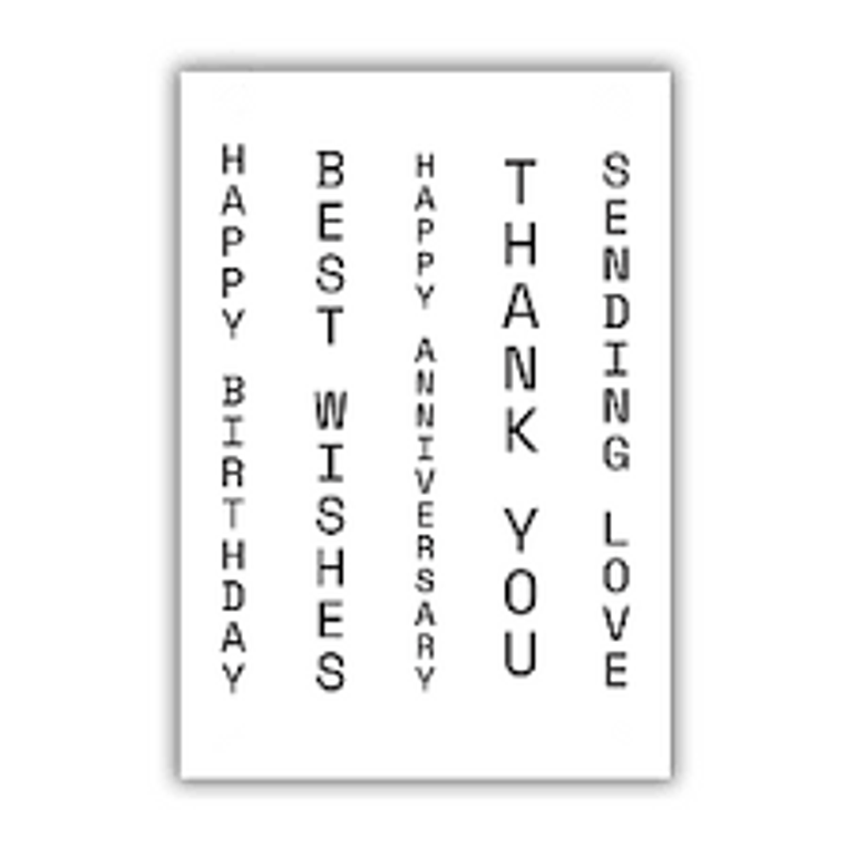 Julie Hickey Designs Stamp Set - Vertical Wishes (JHE1028)  Designed by Julie Hickey for the Floral Collection 2021 Comprises: 5 Stamps      Size: (73 x 102mm) 5 individual vertical sentiment stamps. Perfect font for both male and female cards. This stamp set con-ordinates perfectly with our Message Banner Die Set JHD-CUT-1017. One A7 sheet of high quality heavyweight deep etched 3.2mm clear polymer stamps to give clear, crisp stamping.  Our stamps are designed and manufactured in the UK with love.