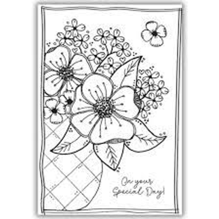 Julie Hickey Stamp Set - Flowers for Jean (JHE1033)  Designed by Julie Hickey for the Spring Burst 2020 Collection Comprises: 3 Stamps   Size: A6 (105 x 148mm) This stamp set is dedicated to Julie's lovely mum, Jean ..... A flower arrangement in a vase with small separate flower and 'On your Special Day!' sentiment in a gorgeous font. One A6 sheet of high quality heavyweight deep etched 3.2mm clear polymer stamps to give clear, crisp stamping.  Our stamps are designed and manufactured in the UK.