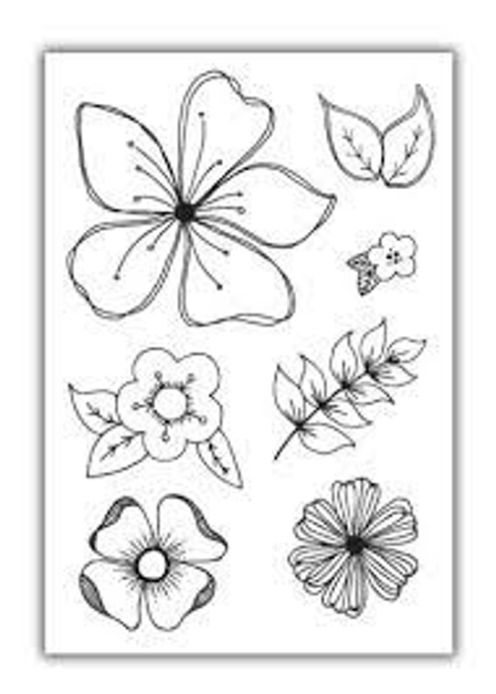 Julie Hickey Designs Stamp Set - Floral Fancies (JHE1018)  Designed by Julie Hickey for the Spring Delights 2019 Collection Comprises: 7 clear stamps    Size: A6 (105 x 148mm) Co-ordinates with Floral Fancies die set JHD-CUT-1002 5 different sized and style of flowers with 2 different sized and style of leaves. One A6 sheet of high quality heavyweight deep etched 3.2mm clear polymer stamps to give clear, crisp stamping. Our stamps are designed and manufactured in the UK with love.