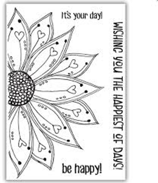 Julie Hickey Designs Stamp Set - Be Happy Stamp Set (JH1031)  Designed by Julie Hickey for the Spring Burst 2020 Collection Comprises: 4 Stamps   Size: A6 (105 x 148mm) Main focal sunflower designs with 3 sentiments in unusual font, 'It's your day!, Wishing you the happiest of days! & be happy!' One A6 sheet of high quality heavyweight deep etched 3.2mm clear polymer stamps to give clear, crisp stamping.  Stamps are designed and manufactured in the UK.