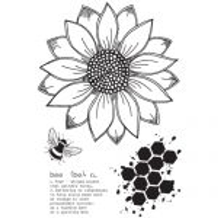 Julie Hickey Designs Stamp Set - Sunflower Bee (JH1019)  Designed by Julie Hickey. A6 (105 x 148mm) Stamp Set. From the Summer 2019 Collection Includes: 4 clear stamps. This set co-ordinates with Sunflower Bee Die Set JHD-CUT-1007 Designed & Manufactured in the UK.