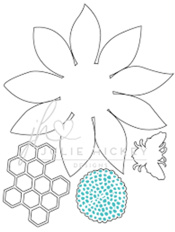 Julie Hickey Designs Die Set - Sunflower Bee (JHD-CUT-1007)  Designed by Julie Hickey for the Summer 2019 Collection Comprises: 4 dies    Size: 90 x 94mm Made from carbon silver steel This set co-ordinates with Sunflower Bee Stamp Set JH1019 Sunflower, centre of sunflower, bee and honeycomb dies. Designed in the UK.