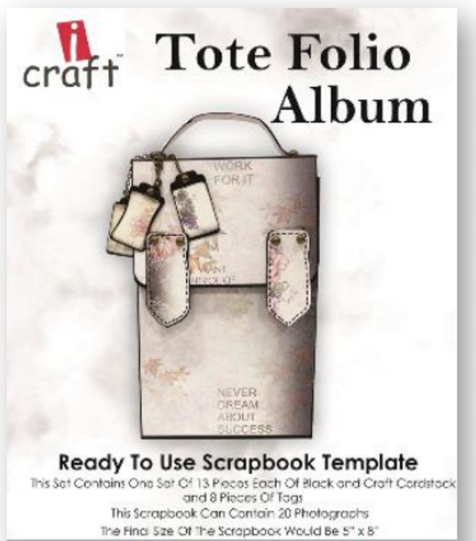 """iCraft Design Tote Folio Album- (i950180)  This set contains one set of 13 pieces each of either black or kraft card stock Finished size: 5"""" x 8"""""""