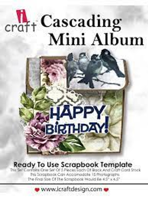 """iCraft Design Cascading Mini Album - (i950171)  This set contains one set of 5 pieces each of  black and kraft card stock Finished size: 4.5"""" x 4.5"""""""