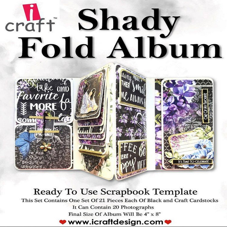 """iCraft Design Cascading Mini Album - (i950171)  This set contains one set of 21 pieces each of  black and kraft card stock Finished size: 4"""" x 8"""""""