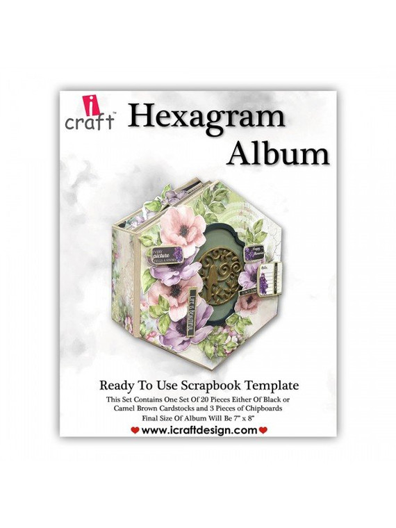 """iCraft Design Hexagram Album - (i950183)  This set contains one set of 20 pieces each of black or camel brown card stock Finished size: 7"""" x 8"""""""