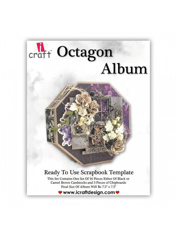 """iCraft Design Octagon Album - (i950184)  This set contains one set of 16 pieces each of black or camel brown card stock Finished size: 7.5"""" x 7.5"""""""