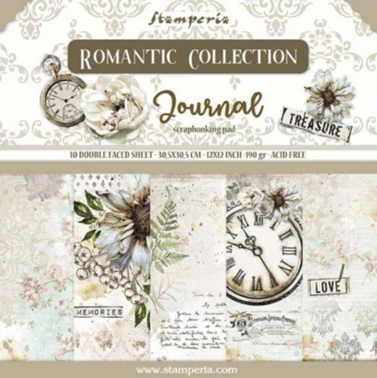 """Stamperia - Journal - 12""""x12"""" Paper Pad (SBBL86)  Stamperia exclusive designs. Paper Pad with 10 double-sided patterned paper. Thickness: heavyweight paper 170 g/m² Size: 12 """"x 12"""" - 30,48 x 30,48 cm, Features: Acid & lignin free Made in Italy."""