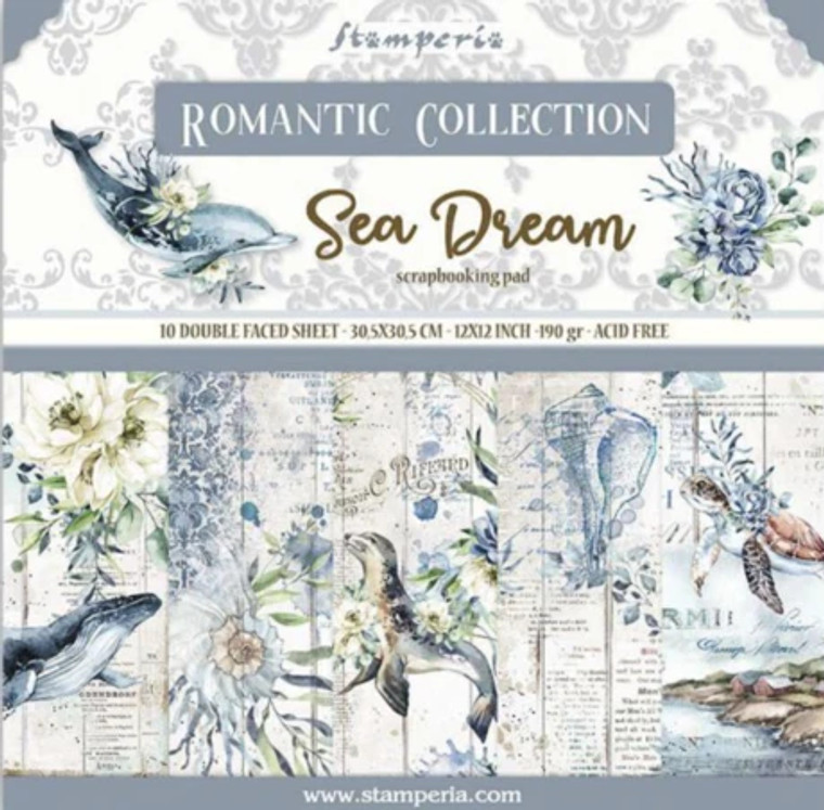 """Stamperia - Sea Dream - 12""""x12"""" Paper Pad (SBBL87)  Stamperia exclusive designs. Paper Pad with 10 double-sided patterned paper. Thickness: heavyweight paper 170 g/m² Size: 12 """"x 12"""" - 30,48 x 30,48 cm, Features: Acid & lignin free Made in Italy."""