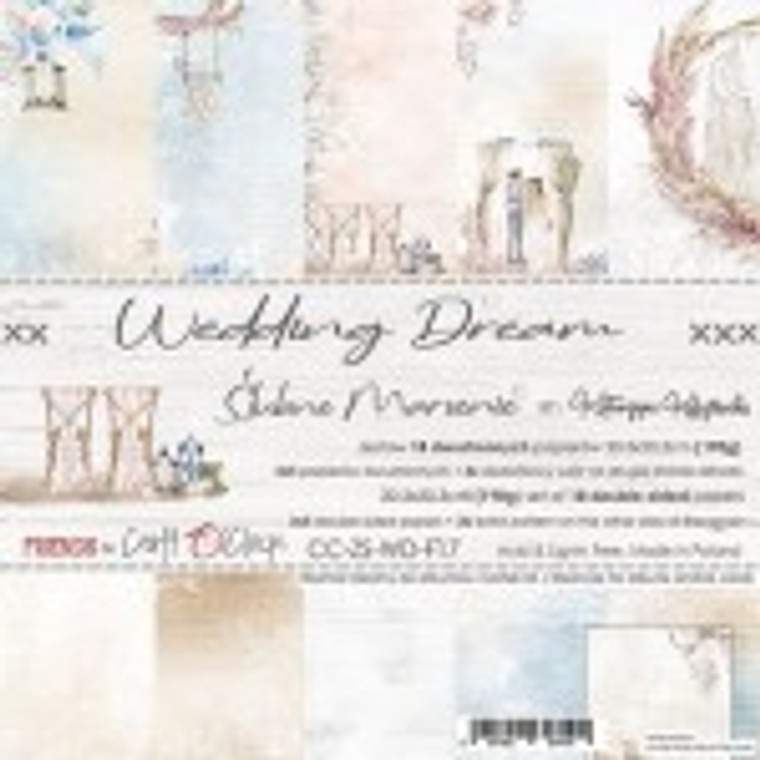 """Craft O'Clock - Paper Collection Set 8"""" x 8"""" Wedding Dream - 190 gsm, bonus design on back of the cover (CC-ZS-WD-F17)  Craft O'clock - Wedding Dream Paper Collection.  A set of 18 double-sided pages of a high quality scrapbooking paper.  Every page is 8x8 inches (20.3x20.3cm).  The set contains 3x5 double sided papers plus 3x extra pattern on the other side of the cover.  The paper weighs 190gsm.  Acid and lignin free."""