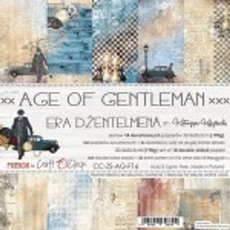 """Craft O'Clock - Paper Collection Set 8"""" x 8"""" Age of Gentlemen - 190 gsm, bonus design on back of the cover (CC-ZS-AG-F16)  Craft O'clock - Age of Gentlemen Collection.  A set of 18 double-sided pages of a high quality scrapbooking paper.  Every page is 8x8 inches (20.3x20.3cm).  The set contains 3x5 double sided papers plus 3x extra pattern on the other side of the cover.  The paper weighs 190gsm.  Acid and lignin free."""