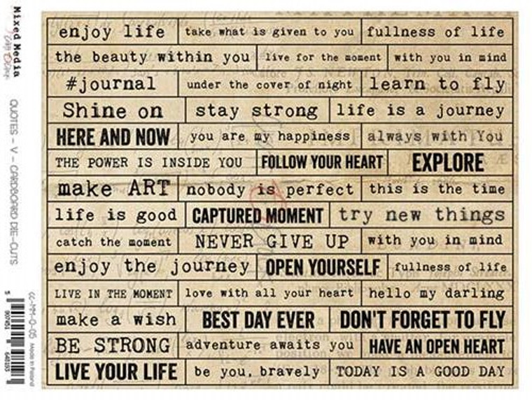 Craft O'Clock - Cardboard Die-Cuts - 42 pre-cut Quotes/Inscriptions (CC-MM-Q-05)  CARDBOARD DIE-CUTS sheet - A sheet with LETTERS on a 2mm solid cardboard (connected with the sheet with small bridges). Die-cuts are perfect for mixed media projects.  An acid-free and wood-free product.