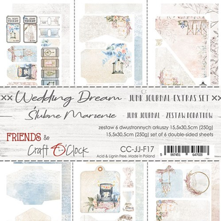 Craft O'Clock - Junk Journal Extras Set - Wedding Dream (CC-JJ-F17)  Junk Journal Set, Wedding Dream Collection. Each Sheet Size 15.5 x 30.5cm. Pack contains 6 pieces, 3 Single sided, 250g, and 3 double sided, 190g.