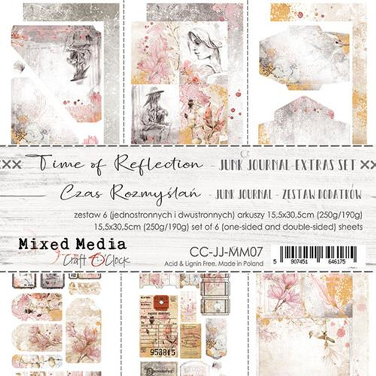 Craft O'Clock - Junk Journal Extras Set - Time of Reflection (CC-JJ-MM07)  Junk Journal Set, Time of Reflection Collection. Each Sheet Size 15.5 x 30.5cm. Pack contains 6 pieces, 3 Single sided, 250g, and 3 double sided, 190g.