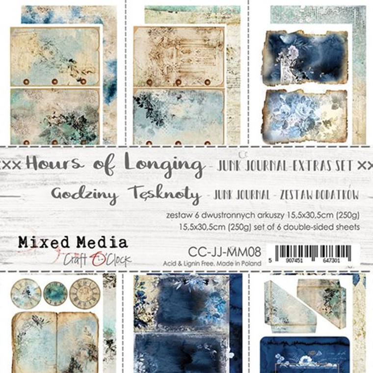 Craft O'Clock - Junk Journal Extras Set - Hours of Longing (CC-JJ-MM08)  Junk Journal Set, Hours of Longing Collection. Each Sheet Size 15.5 x 30.5cm. Pack contains 6 pieces, 3 Single sided, 250g, and 3 double sided, 190g.