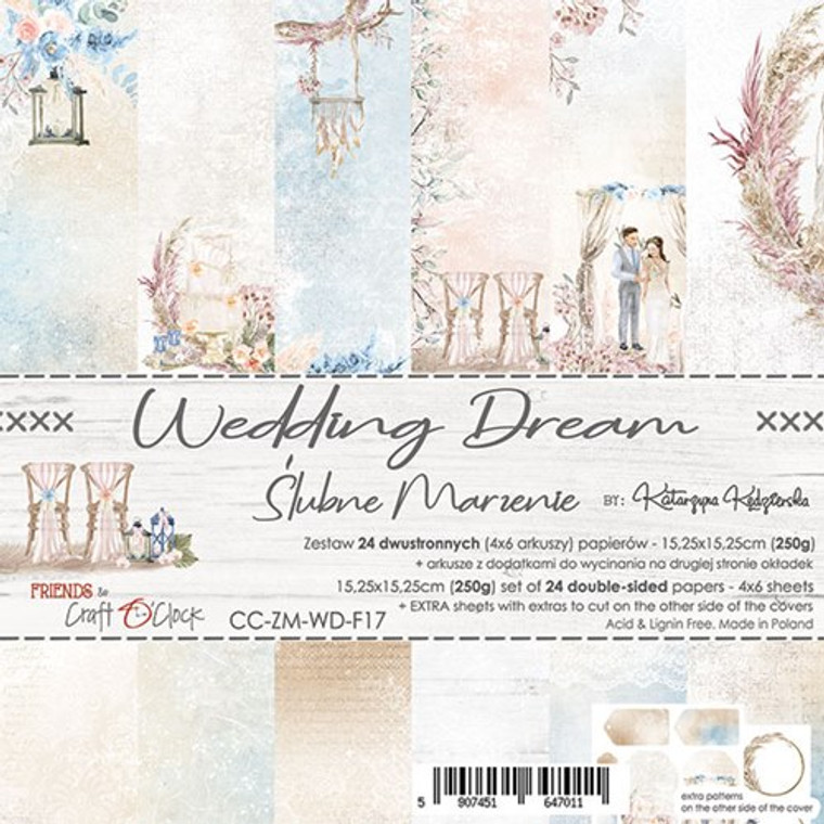 """Craft O'Clock - Paper Collection Set 6""""x 6"""" Wedding Dream - 250 gsm, bonus design on back of the cover (CC-ZM-WD-17)  A set of 24 double-sided pages.  Wedding Dream Collection (6 patterns) of high quality scrapbooking paper.  Each page is 6x6 inches or 15.25 x 15.25cm. The paper weight is 250gsm.  This product is acid and lignin free."""