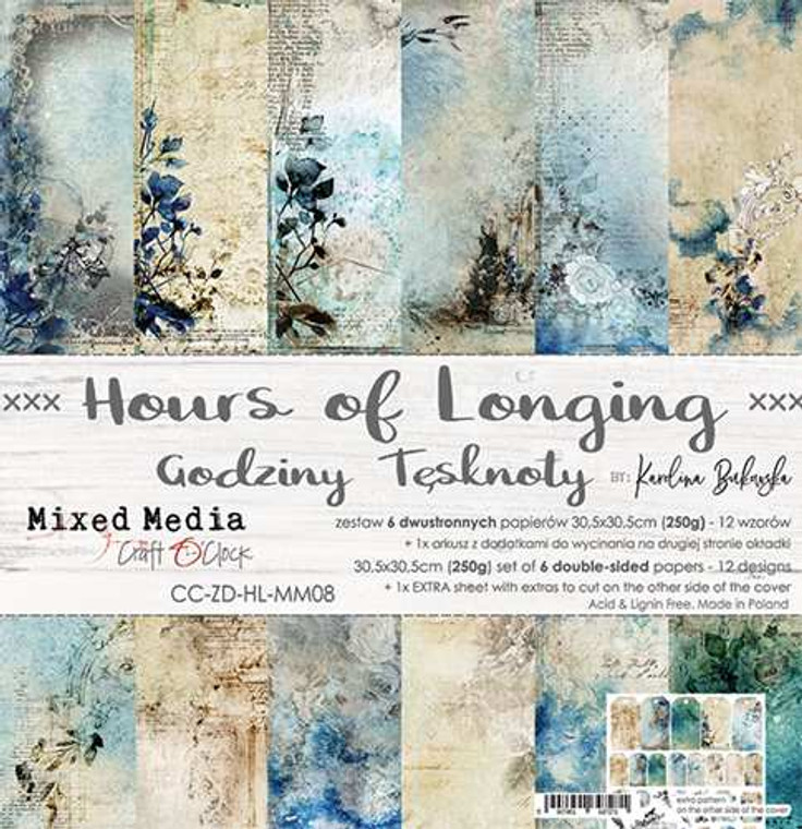 """Craft O'Clock - Paper Collection 12""""x12"""" - Hours of Longing - 250 gsm, 6 double sided papers, 12 designs, bonus design on back of the cover (CC-ZD-HL-MM08)  A set of 6 double-sided pages.  Hours of Longing Collection (12 patterns) of high quality scrapbooking paper.  Each page is 12x12 inches or 30.5x30.5cm.  The paper weight is 250gsm.  1 Extra Sheet with extras to cut on the other side of the cover.  This product is acid and lignin free."""