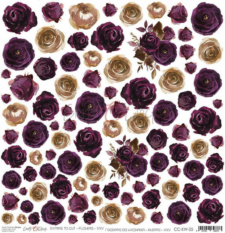 """Craft O'Clock - Plum in Chocolate collection - Single Sided Paper 12""""x12"""" Extras to cut - Flowers XXV - 250 gsm (1 sheet) (CC-KW-25)  Single sheet of high-quality paper from Plum In Chocolate collection, ideal for scrapbooking and other craft projects.  Single sided paper.  Size: 12x12 inches (30.5x30.5cm)  Weight: 250g.  Acid-free and lignin free."""