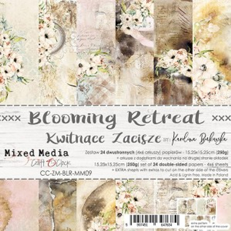 """Craft O'Clock - Paper Collection Set 6""""x 6"""" Blooming Retreat - 250 gsm, bonus design on back of the cover (CC-ZM-BLR-MM09)  A set of 24 double-sided pages.  Blooming Retreat Collection (6 patterns) of high quality scrapbooking paper.  Each page is 6x6 inches or 15.25 x 15.25cm. The paper weight is 250gsm.  This product is acid and lignin free."""