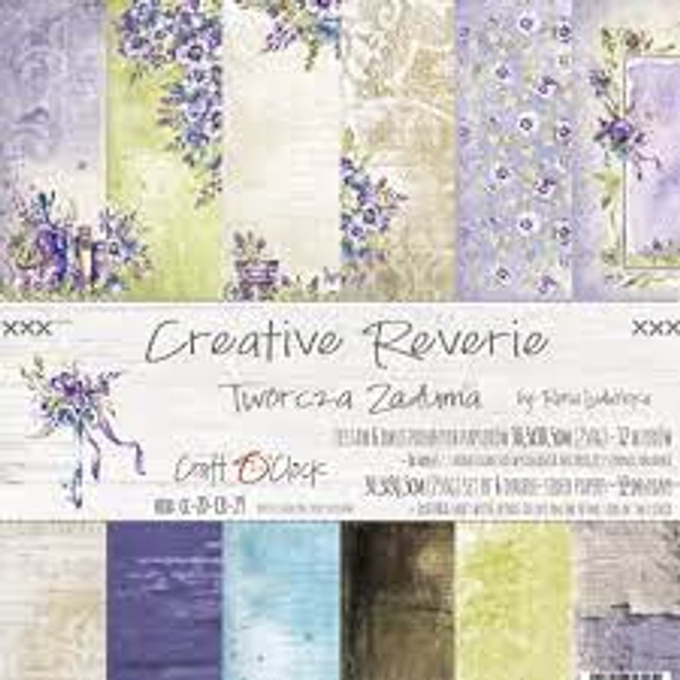 """Craft O'Clock - Creative Reverie Collection 12""""x 12"""" - 6 double-sided papers - 250 gsm, 12 designs, bonus design on back of the cover (CC-ZD-CR-29)  A set of 6 double-sided pages.  Creative Reverie Collection, 6 double sided papers (12 patterns) of high quality scrapbooking paper.  Each page is 12x12 inches or 30.5x30.5cm.  The paper weight is 250gsm.  1 Extra Sheet with extras to cut on the other side of the cover.  This product is acid and lignin free."""