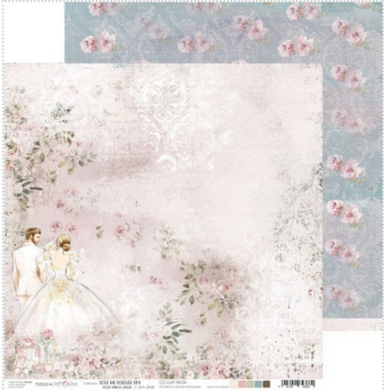 """Craft O'Clock - Love Me Forever collection - Double Sided Paper 12""""x 12"""" - Love Me Forever No.4 - 250 gsm (1 sheet) (CC-LMF-F8-04)  Single sheet of high-quality paper from Love Me Forever collection, ideal for scrapbooking and other craft projects.  Double sided paper.  Size: 12x12 inches (30.5x30.5cm)  Weight: 250g.  Acid-free and lignin free."""
