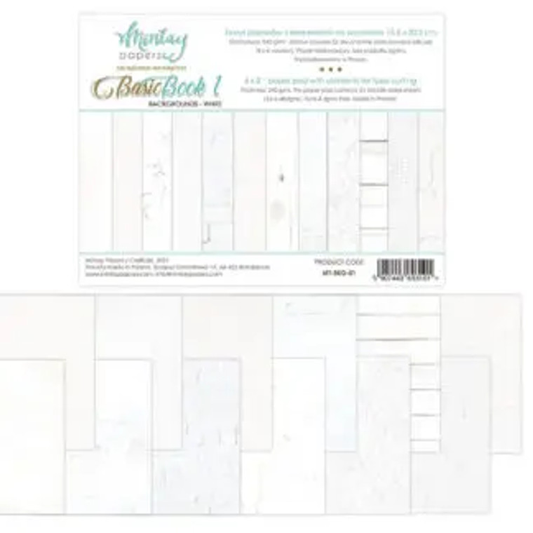 Mintay - Basic Book - Backgrounds White - 6 x 8 (MT-BKG-01)  All books are 6 x 8 inches, i.e. 15.2 x 20.3 cm, 240 gsm and each of them is divided it into few parts (depends on style or color combination)